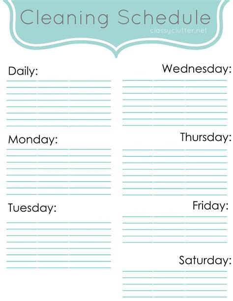 Weekly Cleaning Schedule Improve Your Cleaning Habits Classy Clutter Printable Cleaning Schedule Template
