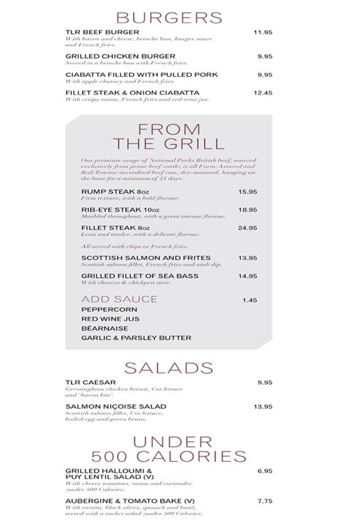 the living room leeds menu a la carte burgers grills salads and 500 calories