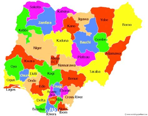 map of nigeria with states nigeria map showing states