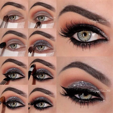 Eyeshadow Silver professional glamorous eye makeup tutorials pretty designs