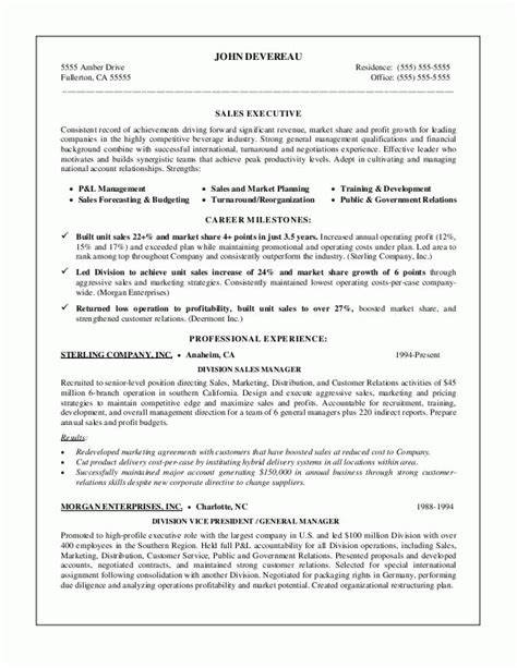 leadership resume sles sales leader resume