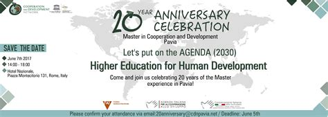 pavia master 20 176 anniversary master in cooperation and development coopi