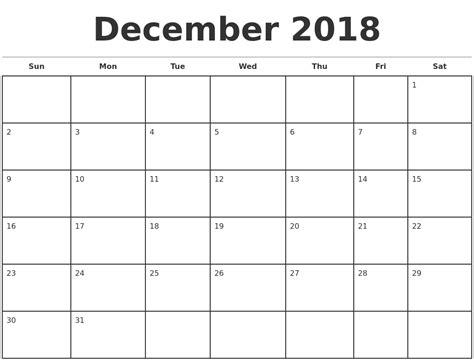 printable calendar 2018 december printable monthly calendar december 2018 journalingsage com