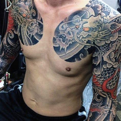 dragon tattoo on chest and arm men s dragon tattoo on chest men s tattoo ideas