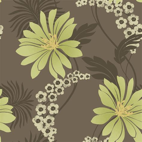 k2 tahiti brown amp green floral wallpaper departments