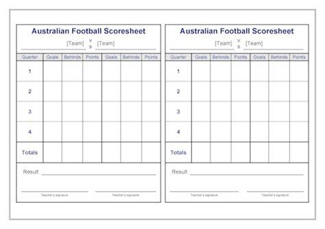 football score sheet australian football scoresheets template