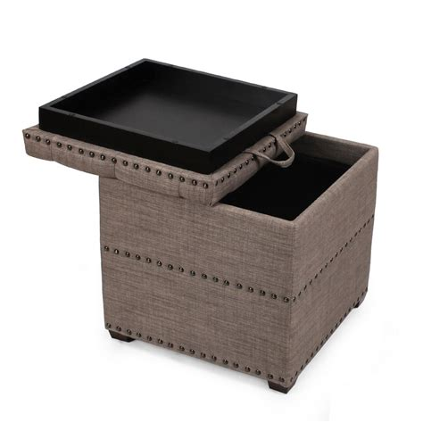 Brown Ottoman With Tray Adeco Brown Square Ottoman With Tray Storage Ft0048 2