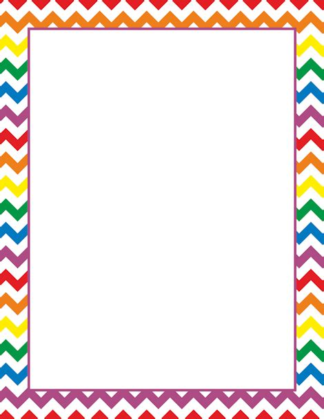 Printable Rainbow Chevron Border Free Gif Jpg Pdf And Chevron Border Template