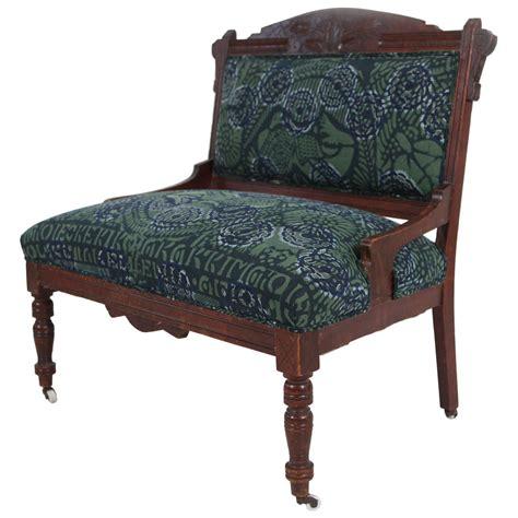 upholstered settee vintage eastlake style settee upholstered in african