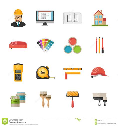 interior design elements icons stock vector art 165814827 architecture interior design and repairs vector flat