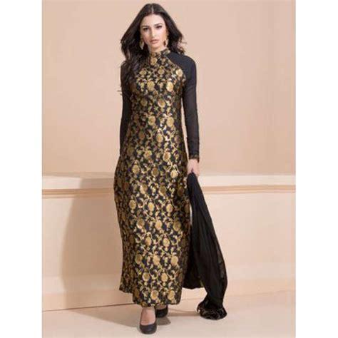 Lomgdress Brocade black and gold brocade dress readymade suit