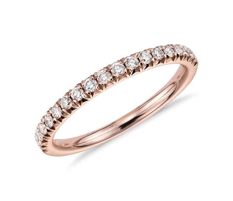 rose gold french pav 233 diamond ring in 14k rose gold 1 4 ct tw