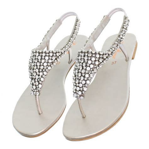 silver sparkly sandals womens flat diamante sparkly toe post silver wedding