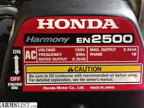 armslist for sale trade honda harmony en 2500 generator
