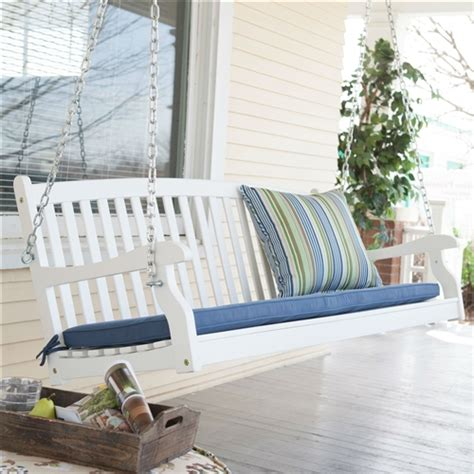 white patio swing outdoor patio deck 4 ft porch swing in white wood finish