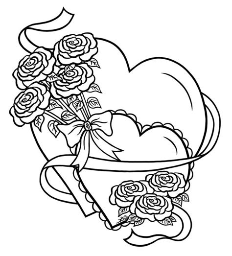 coloring pictures of roses and hearts hearts roses hearts and roses tied with ribbon