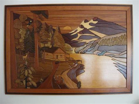 hand crafted framed intarsia sunset valley  woodworking