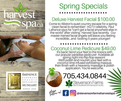 specials at harvest spa stevenson farms and