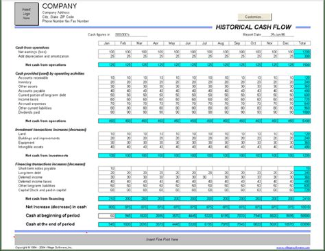 excel monthly cash flow template excel cash flow template