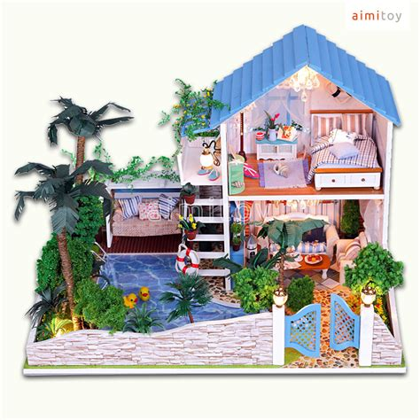 dolls house big w a50 big wood doll house blue garden house w swimming pool palm tree amazing