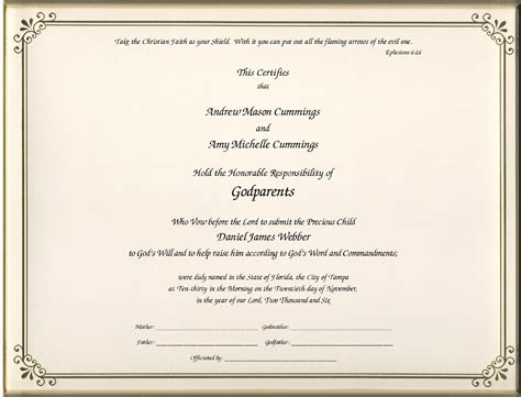 godparent certificate template godparent certificates page 1 foil