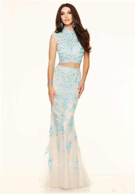 mermaid high neck two chagne lace beaded