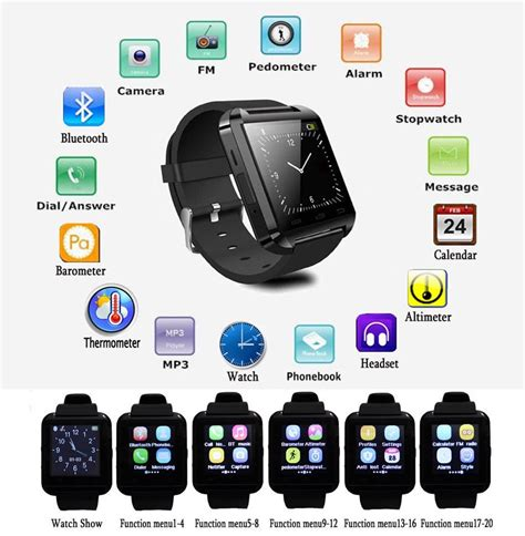 Onyx Smartwatch U U8 Black Smart rel 243 gio smartwatch u8 android chamada celular bluetooth smart importado telefonia ab