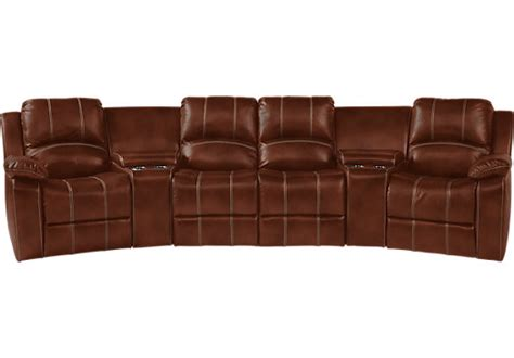 5 pc sectional fenway heights brown 5 pc leather sectional living room