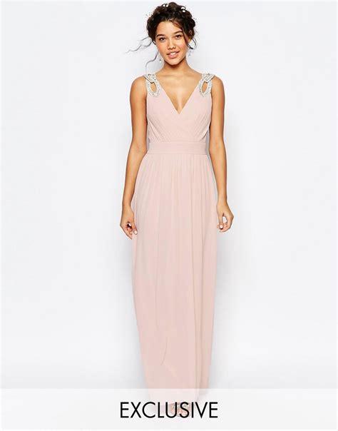 dressy maxi dresses wedding tfnc tfnc wedding wrap embellished maxi dress at asos