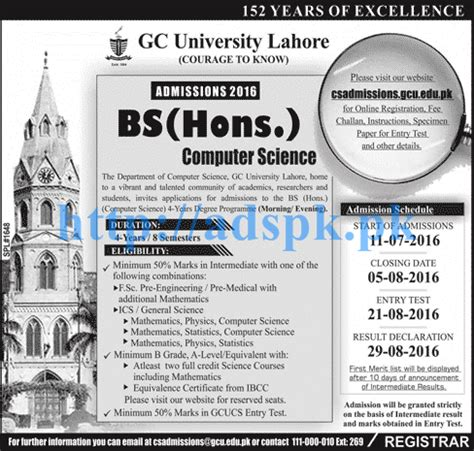 Bachelors In Computer Science And Mba by New Admissions Open 2016 Gc Lahore For Bs Hons