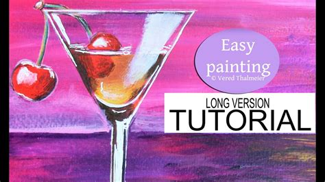 How To Paint A Cocktail Glass At Sunset Acrylic Tutorial