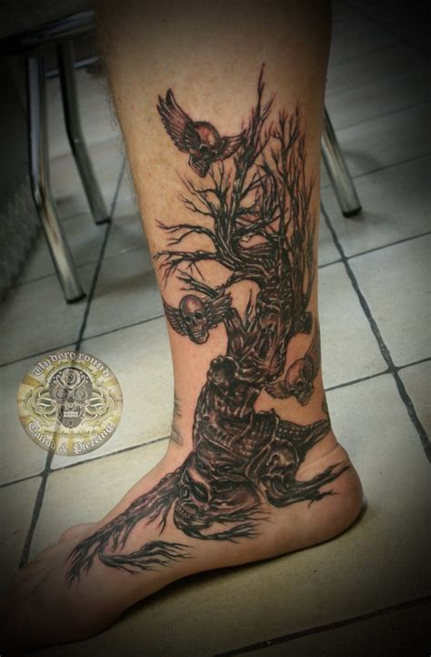 skull leg tattoo designs horror skull