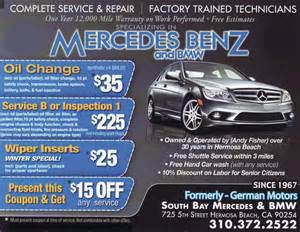 Mercedes Maintenance Coupons South Bay Mercedes Bmw Repair