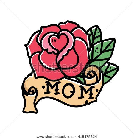 mom tattoo cartoon retro school clipart collection