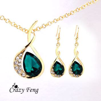 Austria Earrings 24k Yellow Gold Plated Earings Aquamarine shop green emerald necklace on wanelo