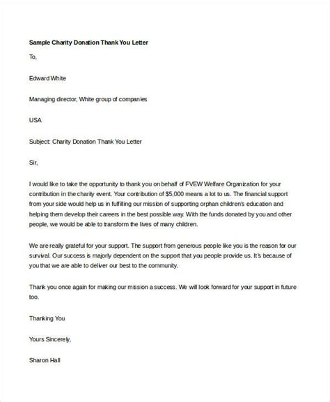 charity letter of thanks thank you letter for donation 8 free word excel pdf