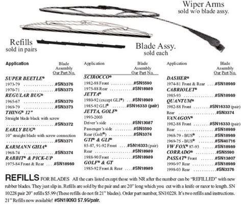 Volkswagen Parts Place by Wiper Blade Chart Bosch Parts Place Inc Vw Parts