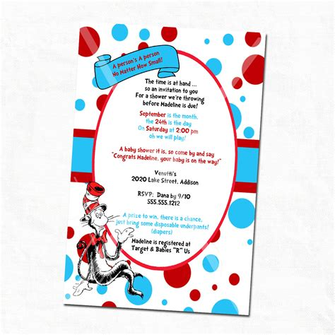 City Dr Seuss Baby Shower Invitations by Dr Seuss Baby Shower Invitations Printable Free Cimvitation