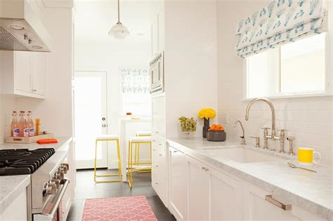 Galley Kitchen Rugs White Galley Style Kitchen With Pink Rug Transitional Kitchen