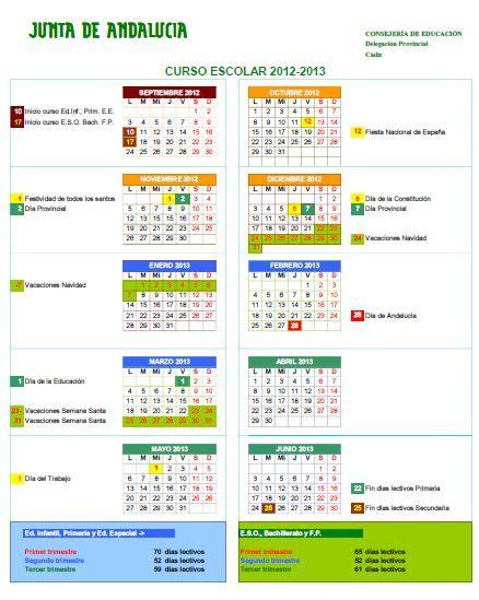 Calendario Escolar Andalucia 2015 Cadiz Calendario Escolar 2012 13 171 Orientagades