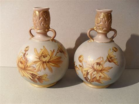 Gold Floral Vases by Pair Doulton Lambeth Carrara Yellow Gold Floral Vases