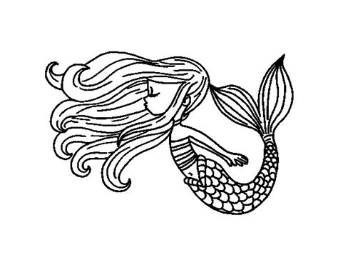imagenes de sirenas para dibujar a lapiz dibujo de sirena flotando para colorear dibujos net
