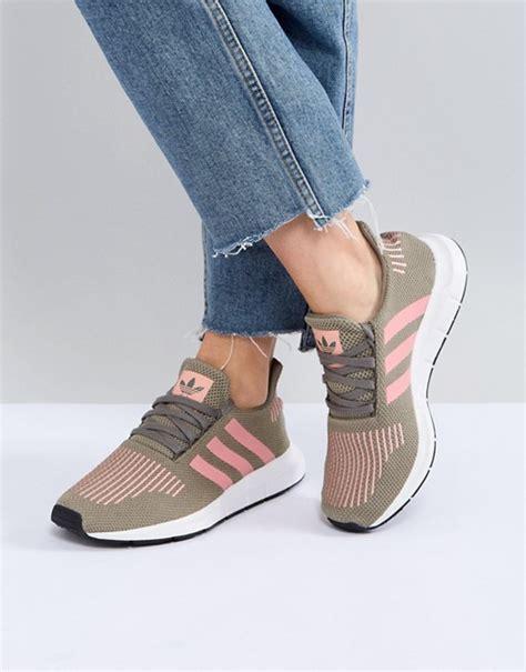 adidas originals adidas originals run trainers in khaki with pink stripe