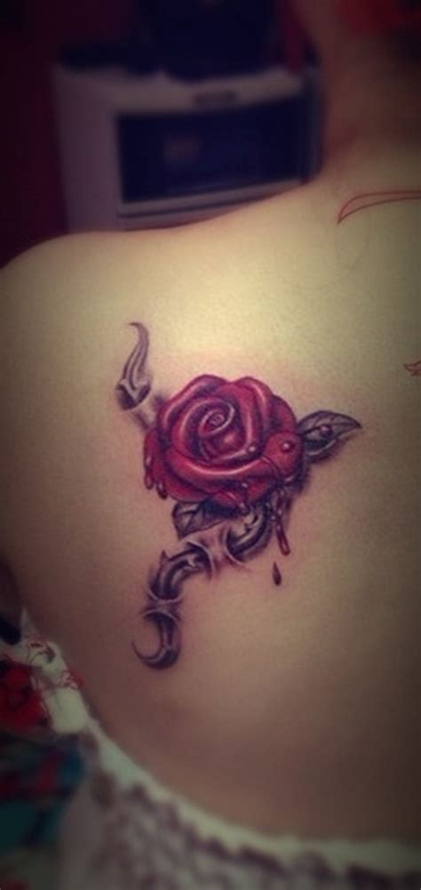 rose on back tattoo images designs