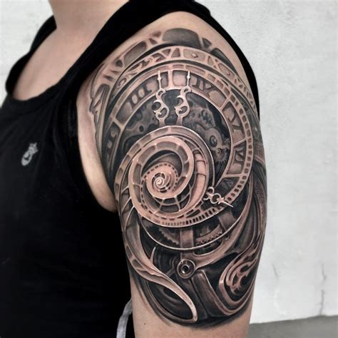 clock half sleeve tattoo designs realistic abtract clock by maximilian rothert tattoos