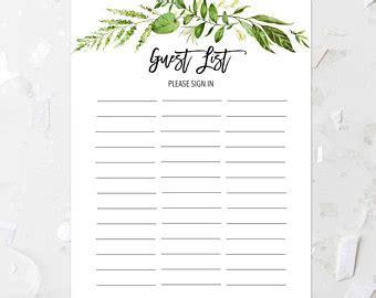 printable bridal shower sign in sheet guest list etsy