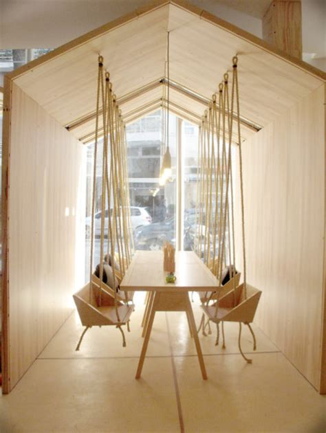 swing house house modern play space features wooden swings