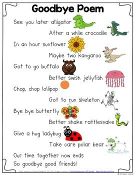 abcd pattern poem goodbye rhyming poem by donna coleman teachers pay teachers