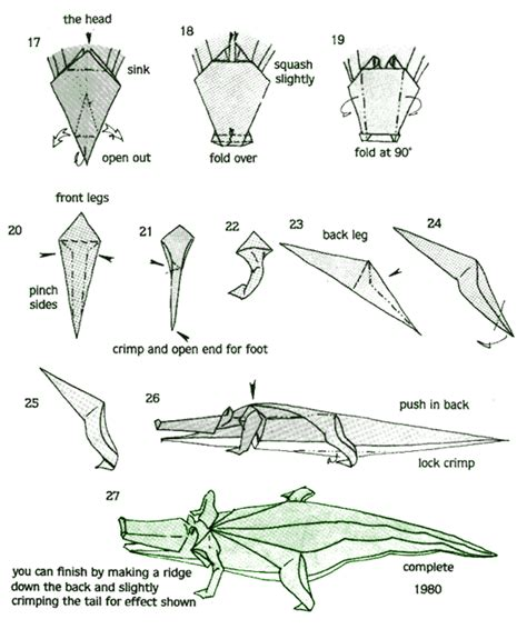 Origami Alligator - pin diagrams origami alligator on