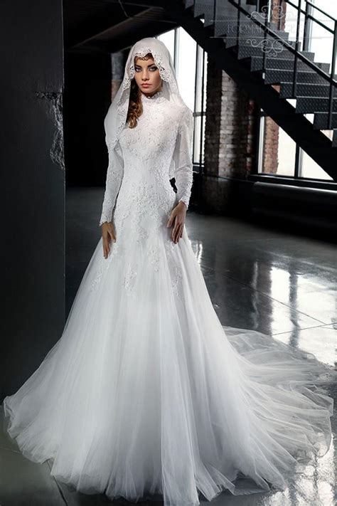 discount designer 2016 vintage lace muslim modest wedding dresses sleeves embroidery lace